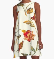 floral pattern on cream A-Line Dress