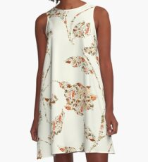 floral pattern on cream no 2 A-Line Dress