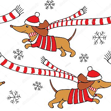 White Christmas Dachshund Dogs - Sausage Dogs by zaktravel99