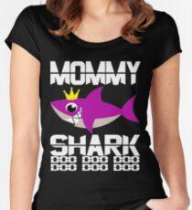 Super Mommy Shark Doo Doo Shirt für Hai-Liebhaber-Beste Mama Geschenkidee Tailliertes Rundhals-Shirt