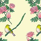 White-eye and rose pattern by fionaostby