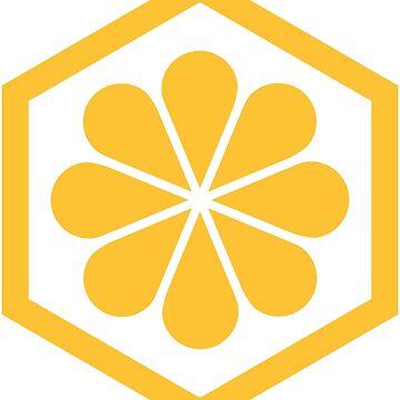 Geometric Pattern: Hexagon Flower: Yellow/White by redwolfoz