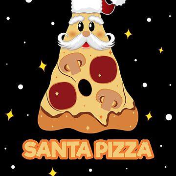 Pizza Slice Pepperoni Party Santa Christmas Pizza Lover Fan by ZNOVANNA