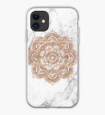 Rose gold mandala on marble iPhone Case