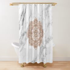 Cortina de ducha Mandala de oro rosa en mármol