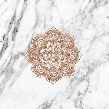Rose gold mandala on marble by peggieprints