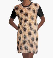 Animal Print Pattern Real Cheetah Fur Graphic T-Shirt Dress