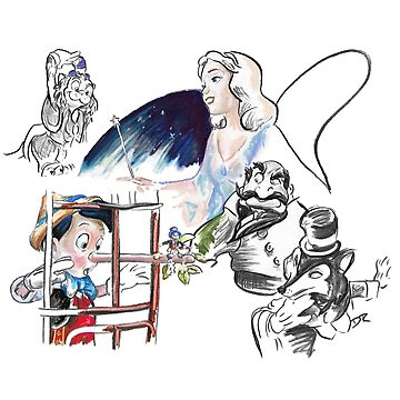 Story Lines - Pinocchio Characters by douglasrickard
