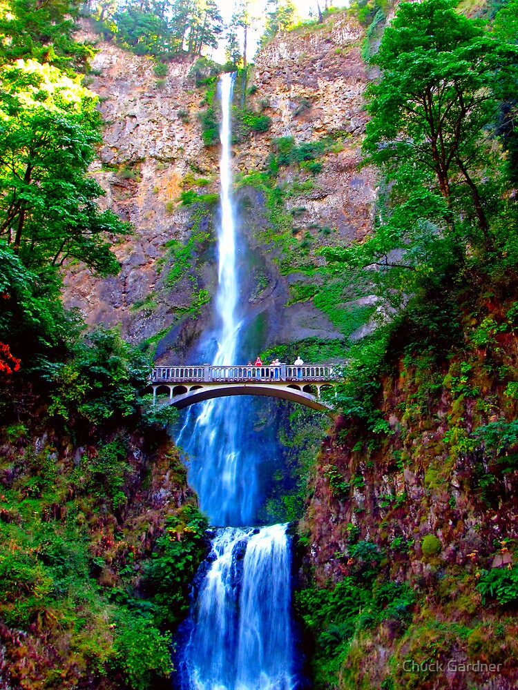Benson Footbridge Across the Multnomah Falls  by Chuck Gardner