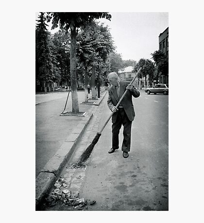 Street Sweeeper, Ivano-Frankivsk, Ukraine Photographic Print