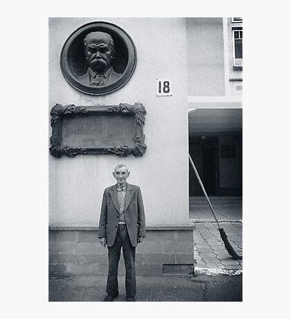 Man and Broom, Ukraine Photographic Print