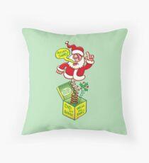 Santa Claus asking if you deserve a Christmas gift Throw Pillow