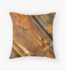 Wood Grain Pattern on Weathered Wooden Boards Throw Pillow