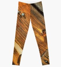 Wood Grain Pattern on Weathered Wooden Boards Leggings