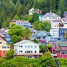 Colorful Houses on Ketchikan Hillside by dbvirago