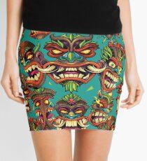Tiki Head Repeating Pattern Mini Skirt