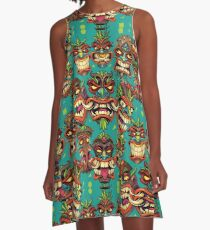 Tiki Head Repeating Pattern A-Line Dress