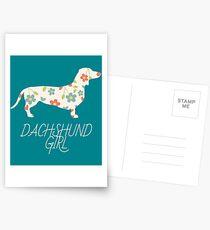 Dachshund Girl Dackel Teckel Postkarten