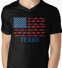 Amerikanisches Salzwasserfischen Texas T-Shirt mit V-Ausschnitt