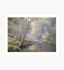 Grazing by the Coquet, Northumberland, England Art Print