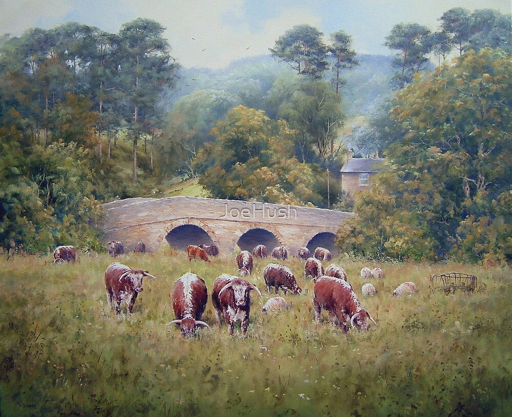 Longhorns at Pauperhaugh Bridge, Northumberlnad, England by JoeHush