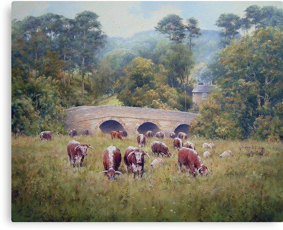 Longhorns at Pauperhaugh Bridge, Northumberlnad, England by JoeHush