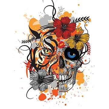 Tiger Skull Flowers Combined by Matucho