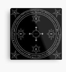 Classic Magic Goetia Circle. White on Black version.  Metal Print