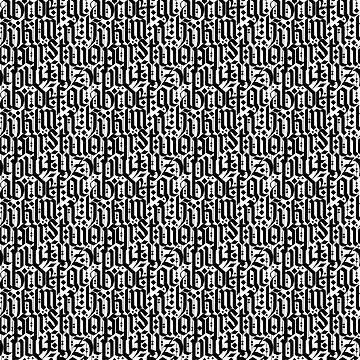 typography pattern 2 - old gothic letters, seamless black and white design   by ohaniki