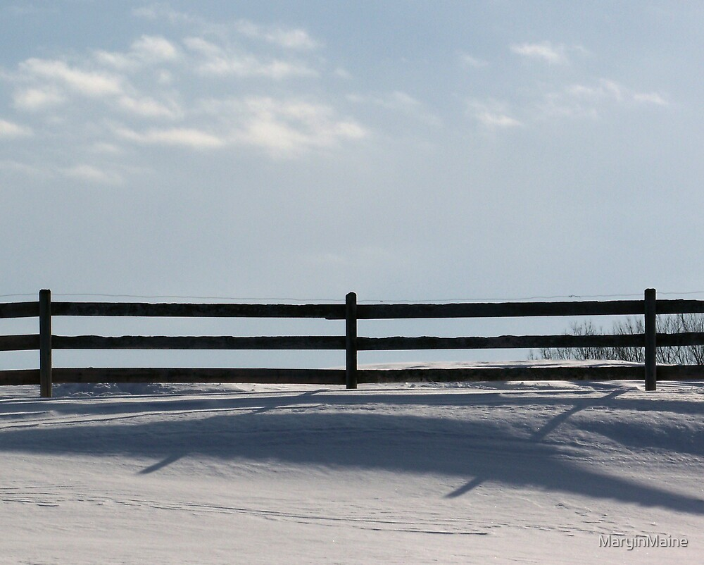Fence Shadows on the Snow by MaryinMaine
