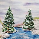 Winter Watercolor Landscape Christmas Card by Erika Lancaster