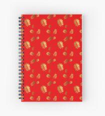 Cuaderno de espiral Patrón tropical rojo