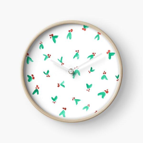Mini Holly Watercolor Pattern Clock