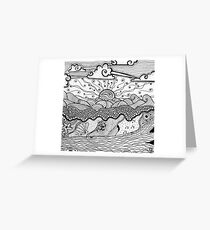 Beach with Waves and Driftwood Greeting Card
