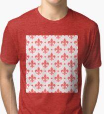 Pink Fleur de Lis on white background Tri-blend T-Shirt