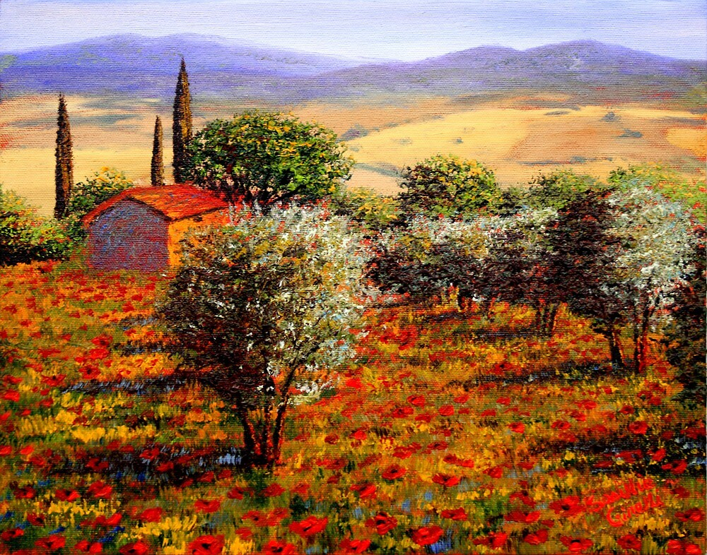 Tuscany Olive Grove & Poppies by sesillie