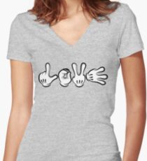 Love Hands Women's Fitted V-Neck T-Shirt
