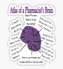 Funny Pharmacist's Brain T-Shirt Sticker