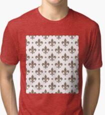 WarmGrey Fleur de Lis on white background Tri-blend T-Shirt