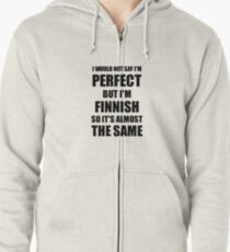 Funny Finnish Gift for Finland Pride Perfect Husband Wife Present Zipped Hoodie