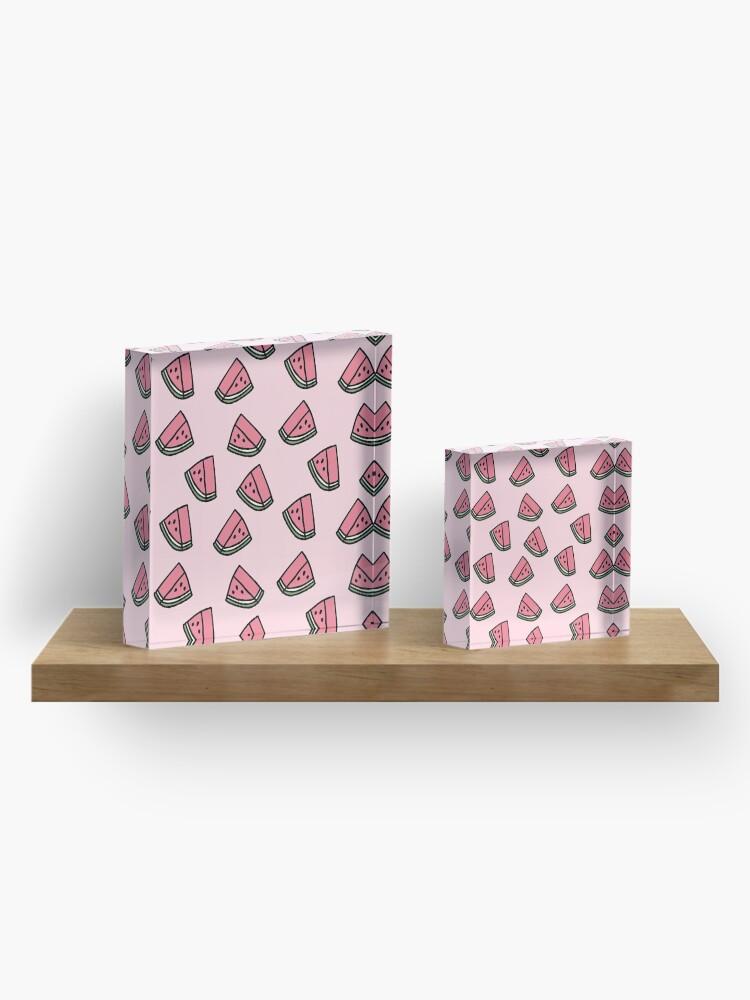 Alternative Ansicht von Kawaii Wassermelonen-Muster Acrylblock