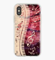 Piano Keyboard with Music Notes Grunge iPhone Case