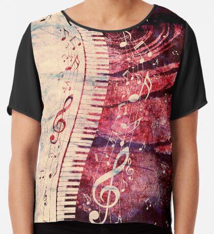 Klaviertastatur mit Musiknoten Grunge Chiffontop