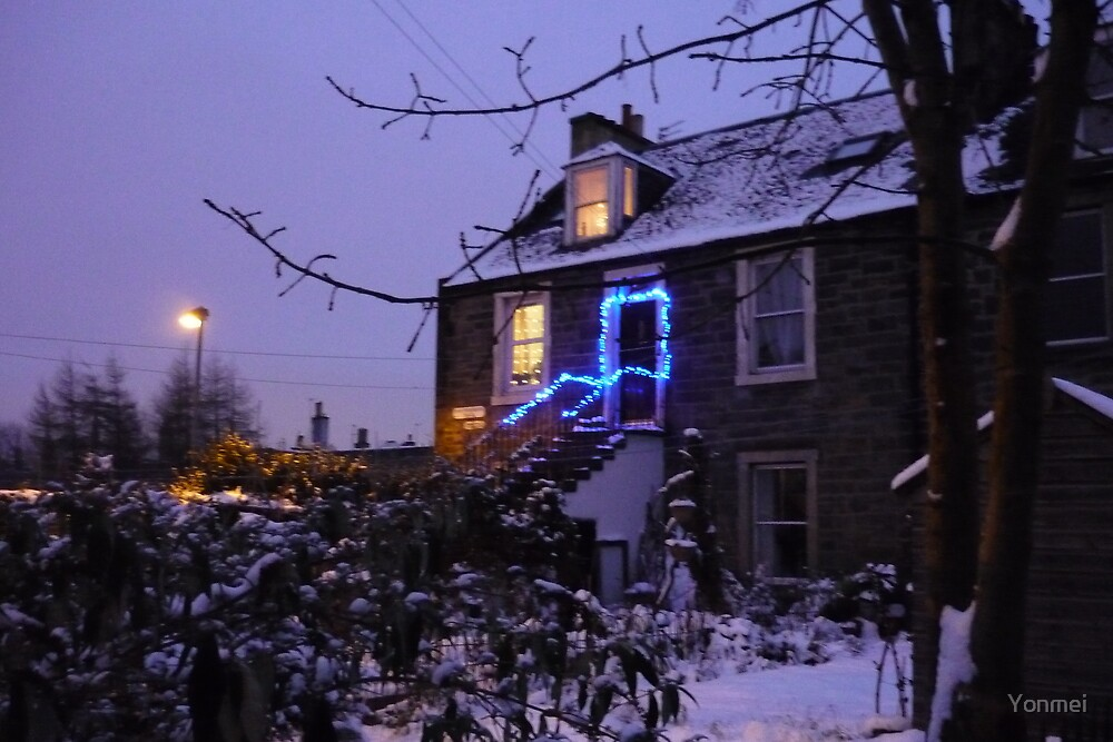 Blue light stairs - Leith in snow by Yonmei