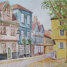 Elm Hill, Norwich - Watercolor and pastel painting by DanielaFurini