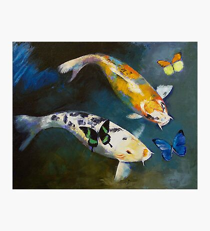 Koi Fish and Butterflies Photographic Print