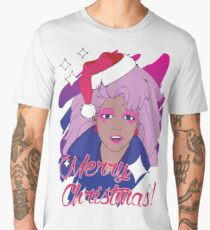 Jem and the Holograms 80s 1980s Cartoon Merry Christmas Greeting Ugly Sweater Men's Premium T-Shirt