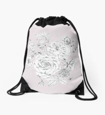 Grey and pink floral drawing Drawstring Bag