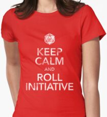 Keep Calm and Roll Initiative (White Text) Women's Fitted T-Shirt