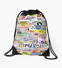Flat Earth Stickers  Drawstring Bag